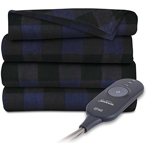 Sunbeam Heated Electric Throw Blanket Fleece Extra Soft, Navy Black Plaid. Sunbeam, America's #1 Electric Heated Blanket! Turn down your indoor regulator and still unwind in warmth and comfort Fleece Throw: Extra Soft agreeable texture; Made from 100 percent Polyester The PrimeStyle controller is anything but, best offer