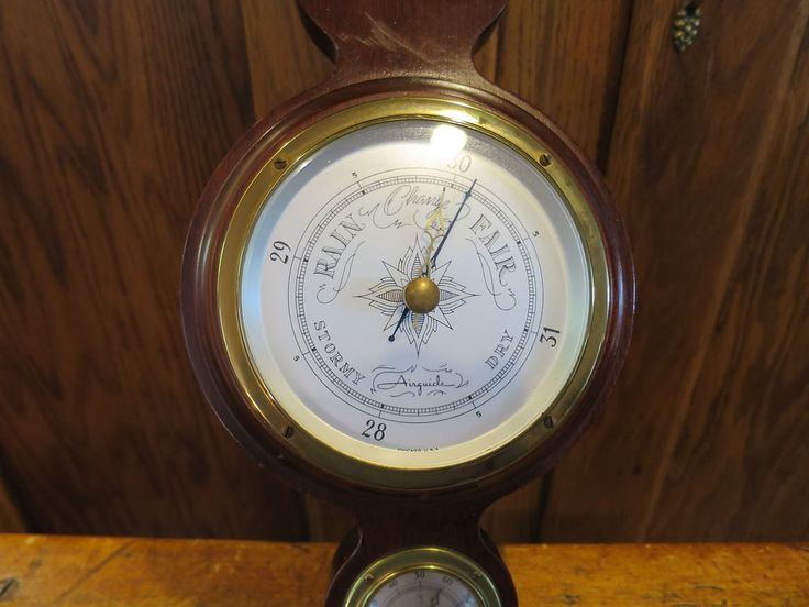 Airguide Banjo Barometer Thermometer Hygrometer Mid Century Weather Instrument