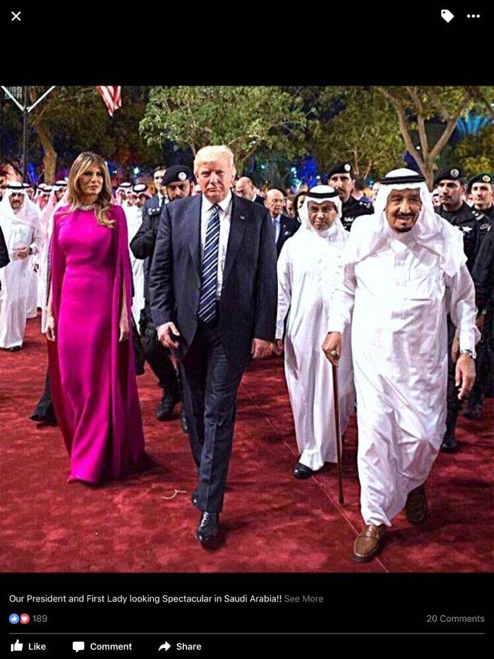 Trump 21 World Depicted As Greek Deity Gaia From: President Trump And 1st Lady Melania In Saudi Arabia May