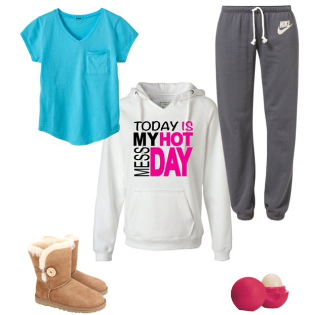 "Lazy day outfit #1. Clothes: turquoise v-neck t-shirt with pocket, dark gray Nike sweatpants, white ""Today is my hot mess day"" sweatshirt, and tan Uggs. Accessories: pomegranate raspberry EOS."