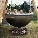 Awesome Homemade Hot Tub...straight out of a Bugs Bunny cartoon!