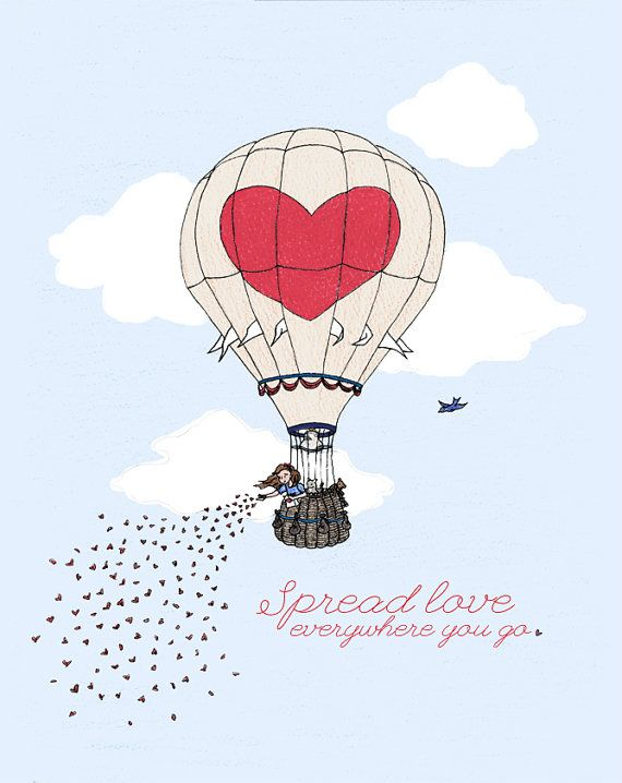 Hot Air Balloon children's print: 11x14 Spread Love print - signed.  Hearts, nursery, quotes.