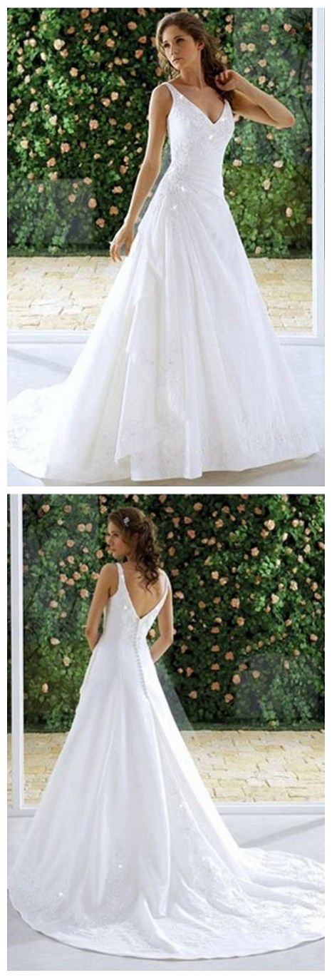 Chapel Train Floor-length V-Neck Wedding Dresses Real Made On Sale (WD0041)