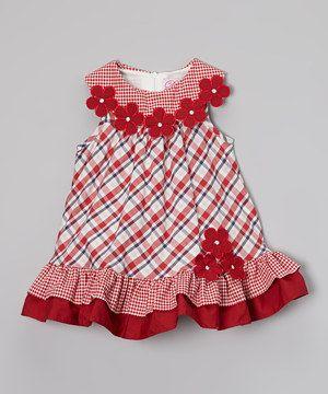 Red Flower Checker Swing Dress - Infant