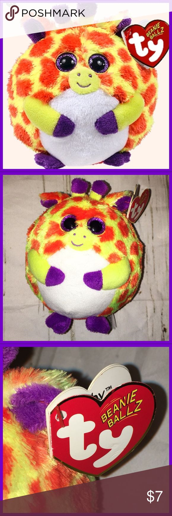 🦒 Ty Toby Beanie Ballz NWT🦒 From the TY Beanie Baby Ballz collection.  Plush stuffed giraffe  collectible.  Tag attached. See pic for more details Approximate size: 5 inches.   Birthday: June 9 Ty Beanie Ballz Accessories