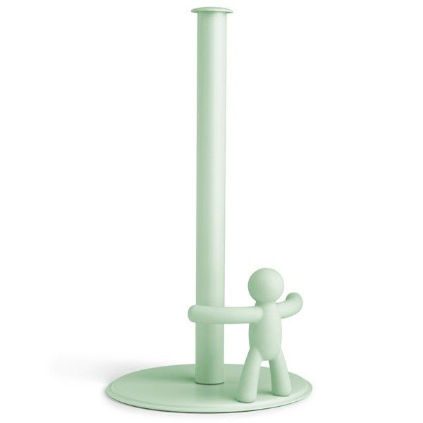 """Umbra+Buddy+Paper+Towel+Holder+-+Mint+-+Who+said+paper+towel+holders+have+to+be+boring?+Not+Umbra,+who+have+created+this+brilliantly+funky+kitchen+roll+holder! The+Umbra+Buddy+Paper+Towel+Holder+-+Mint+is+a+characterful+creation,+which+will+add+some+fun+to+your+kitchen+tops,+and+make+you+smile+every+time+you+reach+for+the+kitchen+roll. This+cheeky+design+comprises+a+mint+plastic+stand+and+a+stick-man+Buddy+in+a+dramatic+""""Keep+back!""""+pose.+This+cheerful+chap+will+stop+you+roll+f..."""