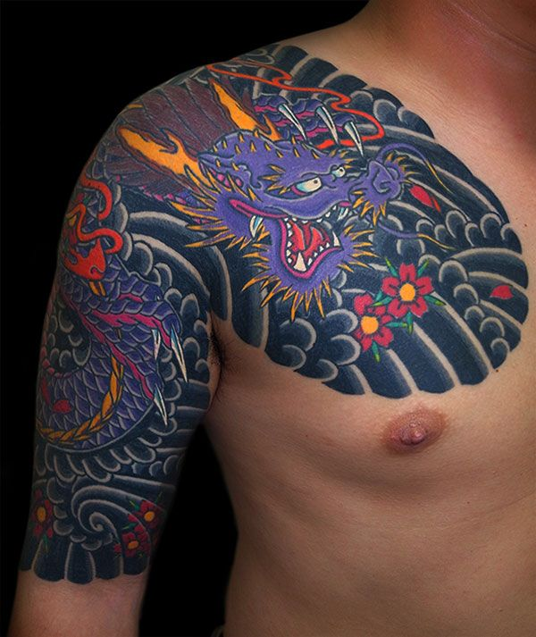 27 best dragon chest plate images on pinterest japanese for Chest plate tattoos