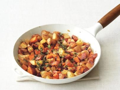 Food Network Magazine's Two-Potato Home Fries #Breakfast #Veggies #MyPlateFries Recipe, Food Network, Side Dishes, Best Healthy Recipes, For Kids, Yukon Gold, Network Kitchens, Two Potatoes, Sweets Potatoes