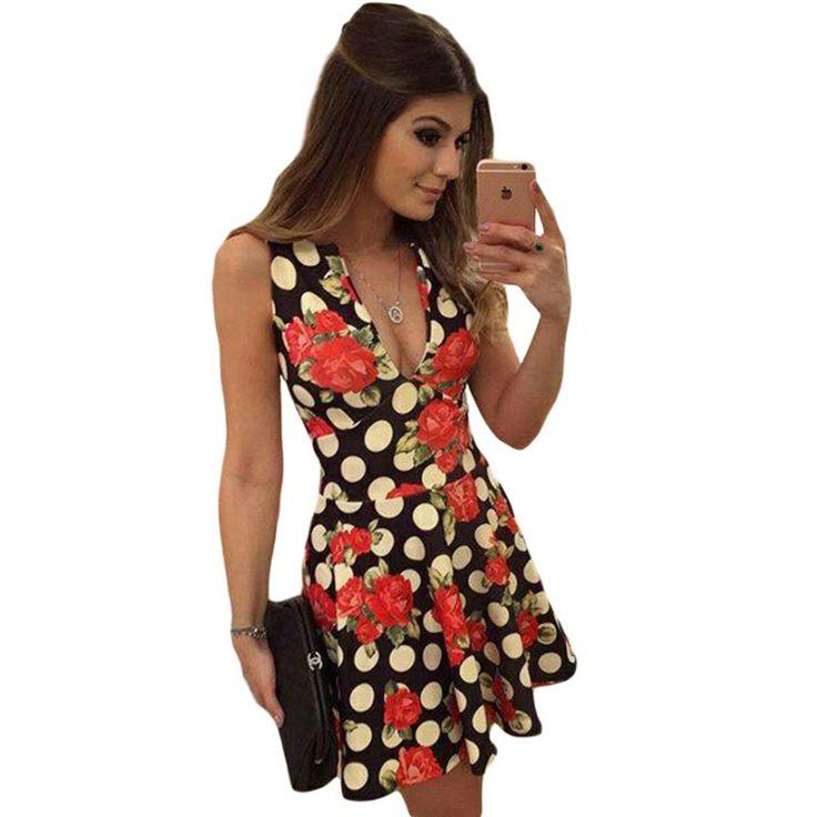 Charlee Cooper Black Rose Print V Neck Mini Dress