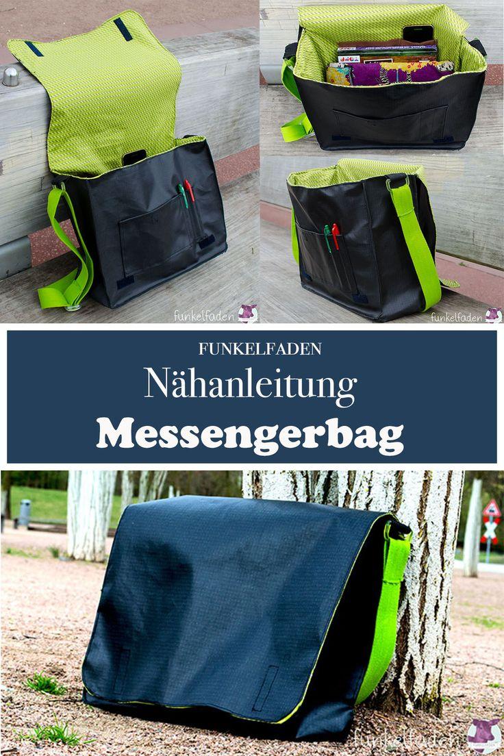 Kostenlose Nähanleitung für eine Messenger Bag mit verschiedenen Fächern mit bebilderter Anleitung zum Nähen.