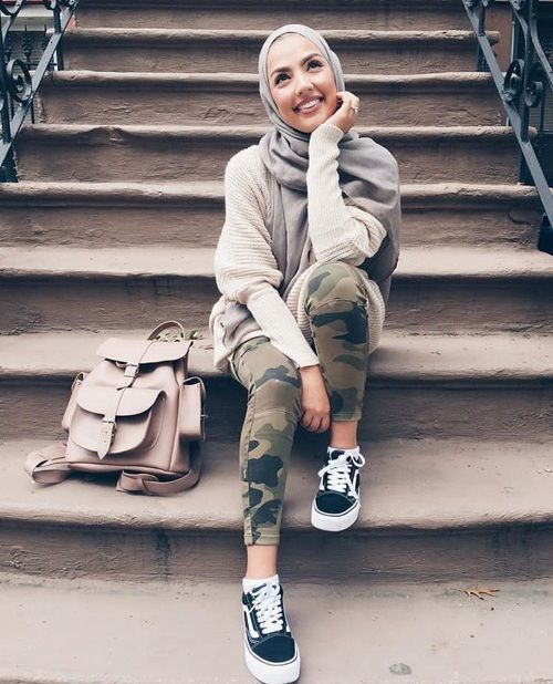 Army pants with hijab-Grafea bag-Colorful and chic hijab collection – Just Trendy Girls