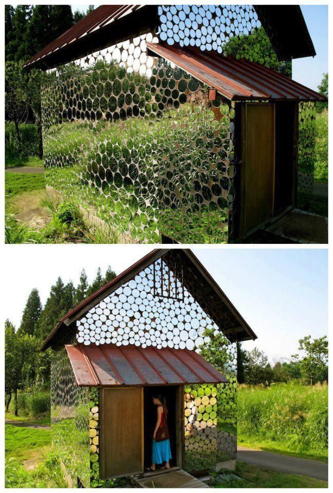 Back in 2009, during Japan's biggest open-air art festival, called Echigo-Tsumari, artist Harumi Yukutake constructed a magical-looking house covered with thousands of round mirrors. After walking  along a narrow path surrounded by grass on both sides, visitors would come upon this house that seemed to merge with its surroundings, making the border between reality and unreality unclear.    Each mirror was unique because it was hand cut by the artist.