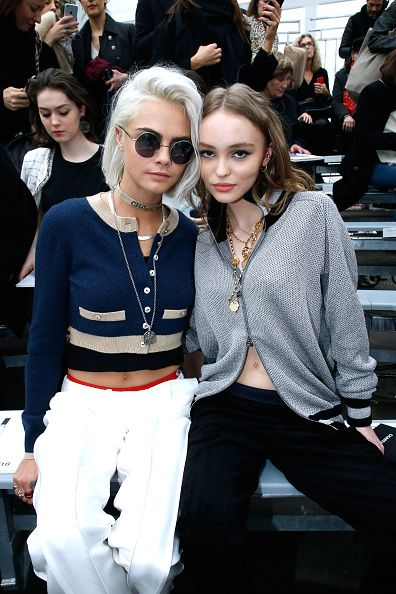Cara Delevingne and Lily Rose Depp attend the Chanel show as part of the Paris Fashion Week Womenswear Fall/Winter 2017/2018 on March 7 2017 in Paris...