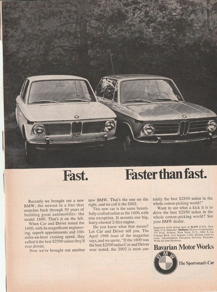 Authentic ad from 1968 for the BMW 1600 and 2002. A great example of vintage advertising for Bavarian Motor Works cars, excellent for framing! Standard magazine size; some pages may show tearing on bi