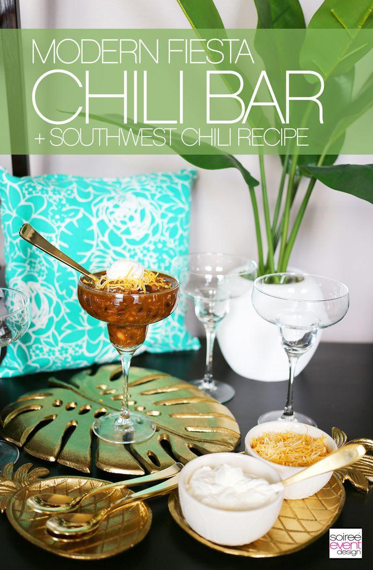 Let's Fiesta with a Modern Fiesta Chili Bar + Southwest Chili Recipe