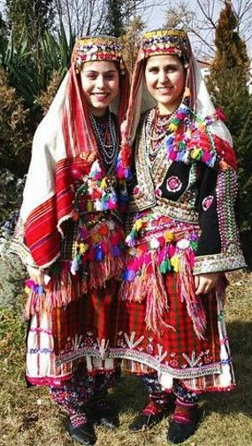 Traditional bridal/festive costumes from the Biga district (south of the Sea of Marmara, in the Çanakkale province).  1950-1975.  Ethnic group: Pomak, Muslim immigrants from Bulgaria who came at the end of 19th century.