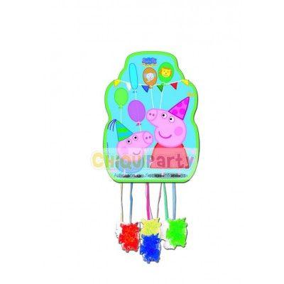 Piñata de cumpleaños de Peppa Pig, tamaño mediano, mide 33 x 43 cms, vale para unos 8 o 10 niños. http://www.articulos-fiestas-infantiles.es/476-fiesta-de-cumpleanos-de-peppa-pig