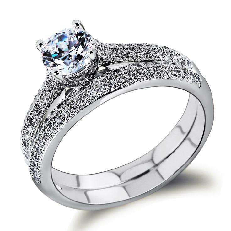 bruids ringen set gouden ring 18k wit gouden plaat partij giften ringvinger ringen 65919 womans mode vintage in  van  op Aliexpress.com