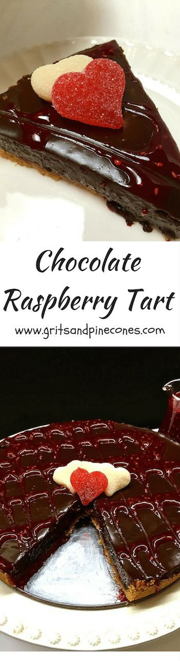 Rich and decadent Chocolate Raspberry Tart with a biscotti crust and two different kinds of chocolate is the perfect Valentine's Day dessert! #valentinesdaydessert, #dessertrecipes, #easydessertrecipes via @gritspinecones