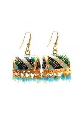 Sky blue meenakari small jhumka earrings