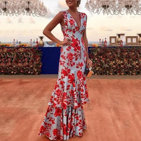 Floral Ruffles Layered Hem Evening Dress – D r e s s