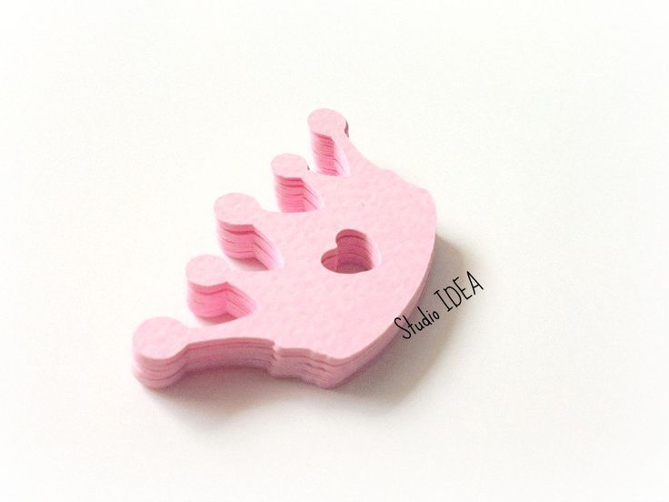 """Pink 2"""" Crown-Heart Cut-outs, Confetti-or Choose Your Colors- Set of 60pcs…"""