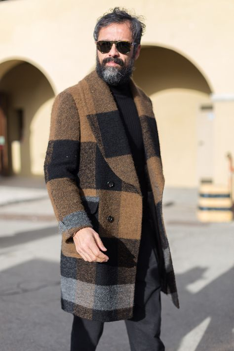 Urban Street Style, Burberry Plaid Coat, Mens Fall Winter Fashion.
