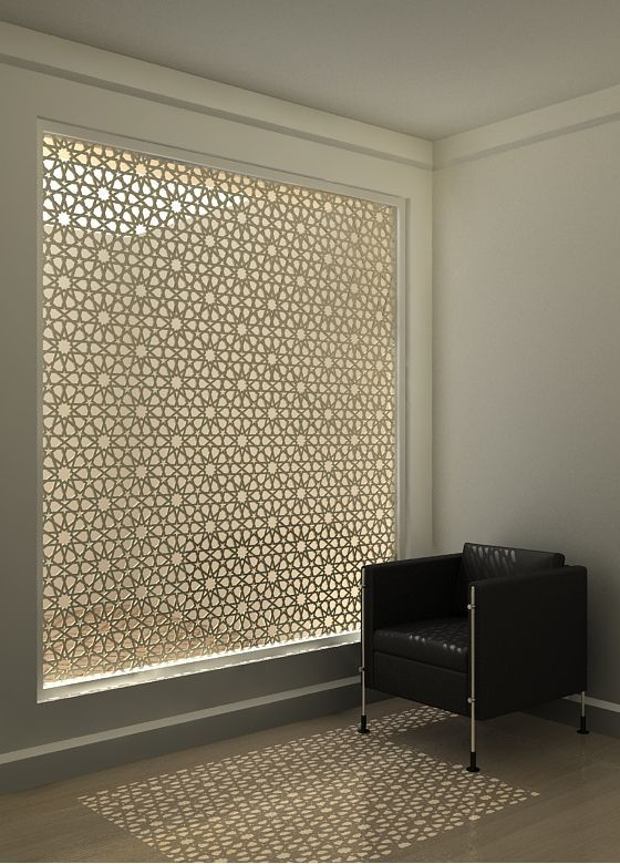 Cut out screen with islamic geometric pattern.