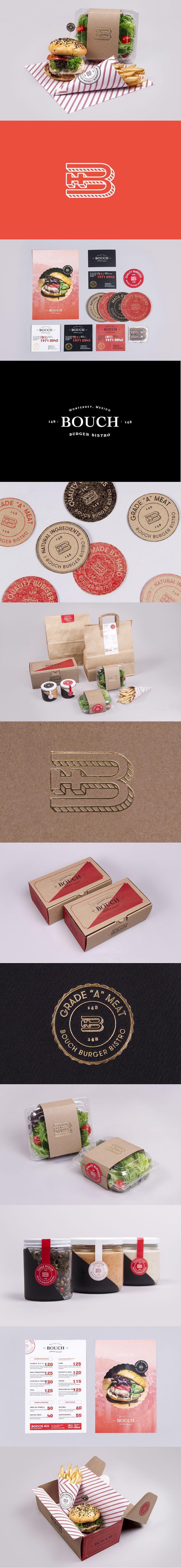 Bouch Burger Bistro. Who want's a burger #identity #packaging #branding PD...muy parecido a algo que conozco.....