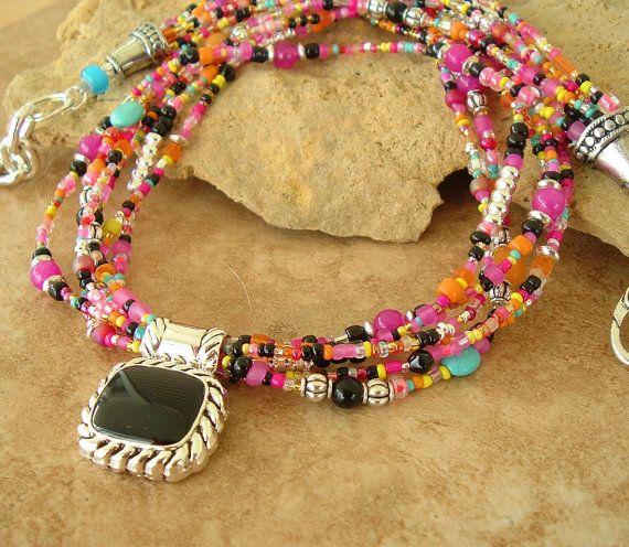 Boho Chic Necklace Colorful Beaded Necklace Pendant by BohoStyleMe