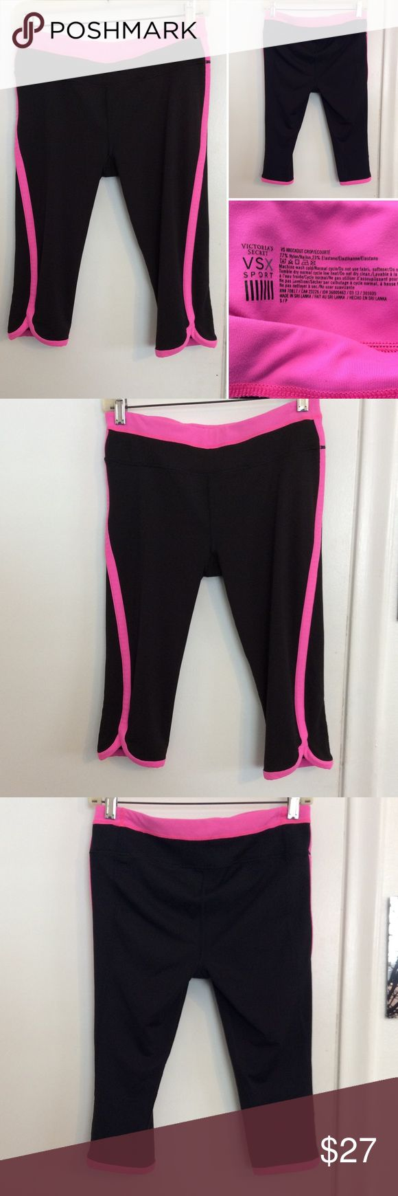 VSX Sport Knockout Cropped Yoga Pants These Victoria's Secret Sport yoga pants are in excellent new like condition. They are knee length in a jet black color with pink trimming. These are a size small and are a nylon blend Victoria's Secret Pants Leggings