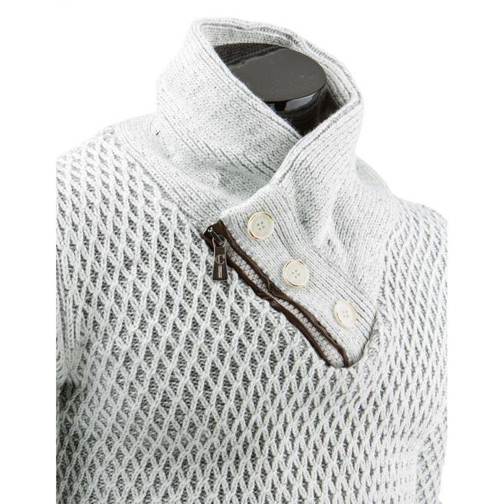 Praktický, teplý pánský svetr do v bílý