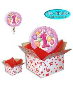 Girls' 1st Birthday Balloon in a Box.