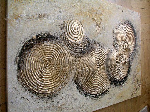 JEAN SANDERS – Struktur Bild Gemälde 120x80cm , gold beige Braun-Töne. Handgemalte Unikate Originale, weitere finden Sie in meinem Shop