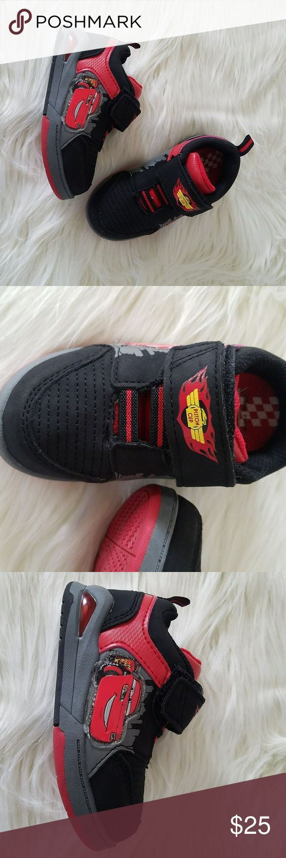 """Disney Pixar Cars Lightning McQueen Toddler Shoes Disney Pixar Cars Lightning McQueen Toddler Boy Shoes With Lights Red Black Sz 6  Style No. CARA14S179B-1 Style Name: Cars  Brand new without box. No box included.  outsole length 6"""" outsole wide 2.5"""" Disney Shoes Baby & Walker"""