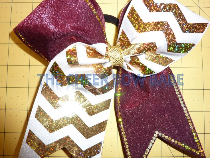 Maroon & White with Gold Chevron Bling Cheer Bow * Tick Tock ~ You Pick Colors by TheCheerBowBabe on Etsy