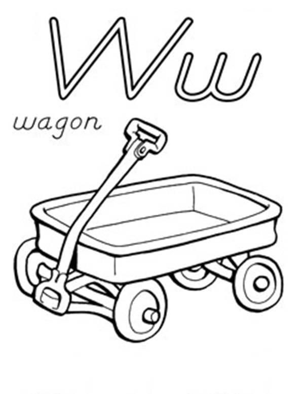 Letter W For Wagon Coloring Page Coloring Pages Bunny Coloring Pages Lettering