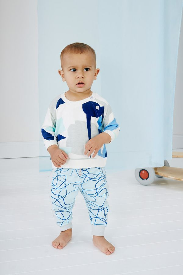 Baobab clothing blue shapes tee & blue scribble pants FW16