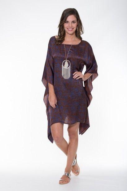 Boho Silk Collection ~ Copper & Blue Kaftan Ladli Australia  Hand block printed pure silk kaftan.
