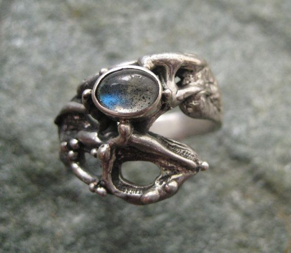 Silver Ring wtih Labradorite Natural forms by GarciaAlfaroArtJewel, $165.00