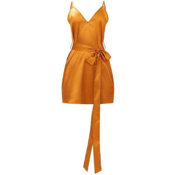Mustard Satin Belted Slip Dress ($30) ❤ liked on Polyvore featuring dresses, orange dress, belted dress, mustard yellow dress, slip dress and mustard dress