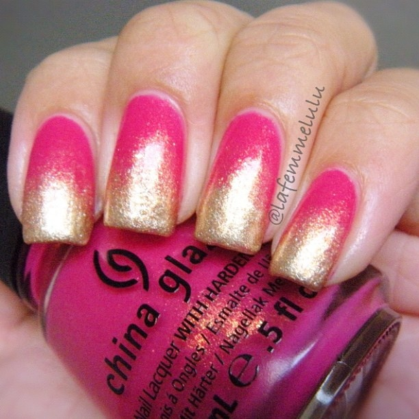 catrice Goldfinger and #revlon Gold Coast over #chinaglaze Strawberry Fields.