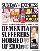 Daily Express Sunday () Newspaper Front Page for 7 April 2013
