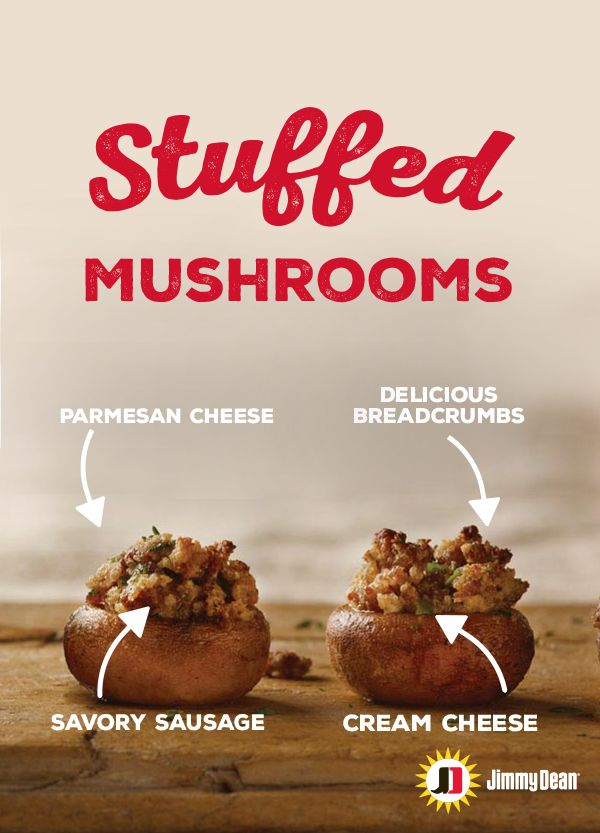 Jimmy Dean Sausage Stuffed Mushrooms are stuffed with the kind of stuff we'd advise overflowing with. With savory sausage, just the right amount of cream cheese and a final layer of delicious breadcrumbs and parmesan cheese, this appetizer is sure to stuff faces full of delicious.