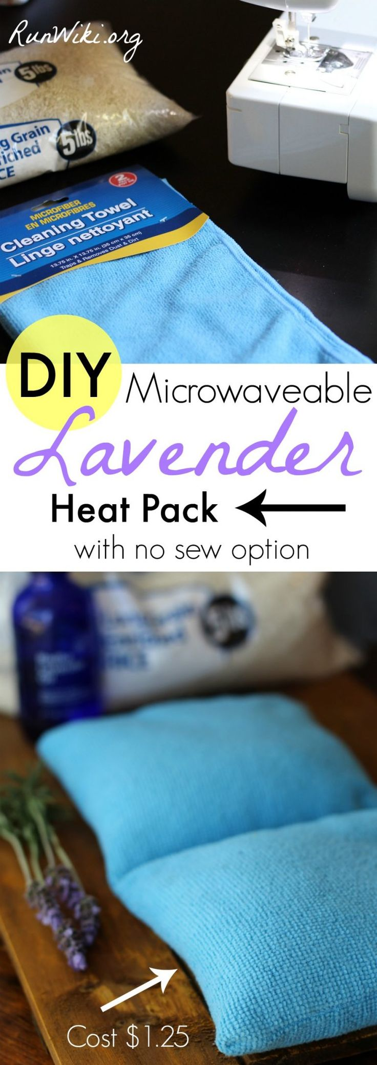 Made from Dollar Store items- rice filler and cleaning clothes these quick and easy DIY Microwaveable aromatherapy Lavender heat packs pads ease sore muscles, kids or an achy back. The best part is it only cost about 1.25 to make. Also a no-sew sock option- no pattern necessary.  Great gift for runners or fitness people. Half Marathon training | tips | crafts | running