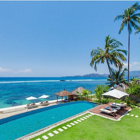 beach house located right on water in the picturesque town of #Candidasa on the east coast of #Bali.