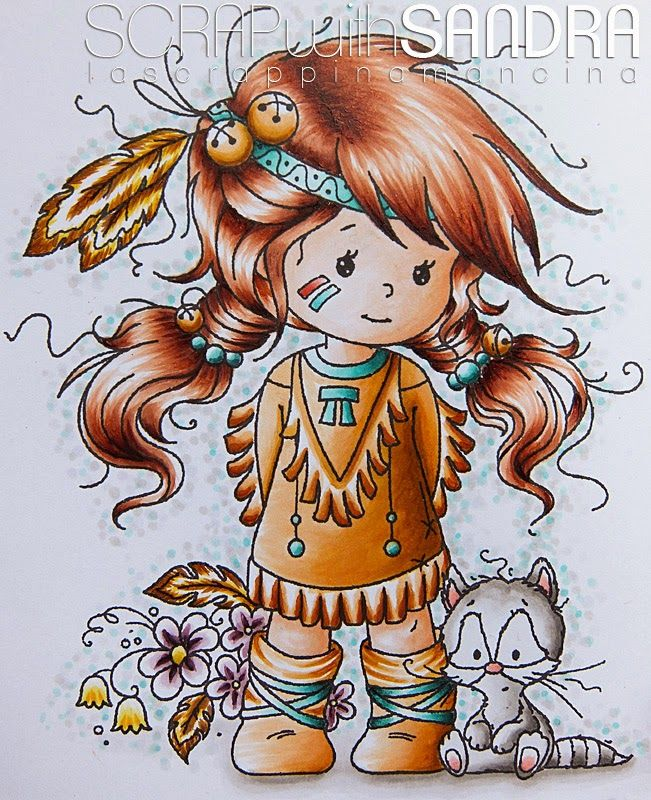 Copic Marker Europe: Lomasi - Little flower -  Skin:E0000-000-00-01 Hair:E19-17-15-13-11 Dress:YR 27-23-21-20 + BG 18-13-11 Flowers:RV 99-93-91 + Y 18-15-11 Feather:Y 11-15-18 E 33 Bells:YR 23-21-20 Shadows:COO-1+ BG 000+W1 Background: W00-1-3 Racoon:C00-1-3+R20