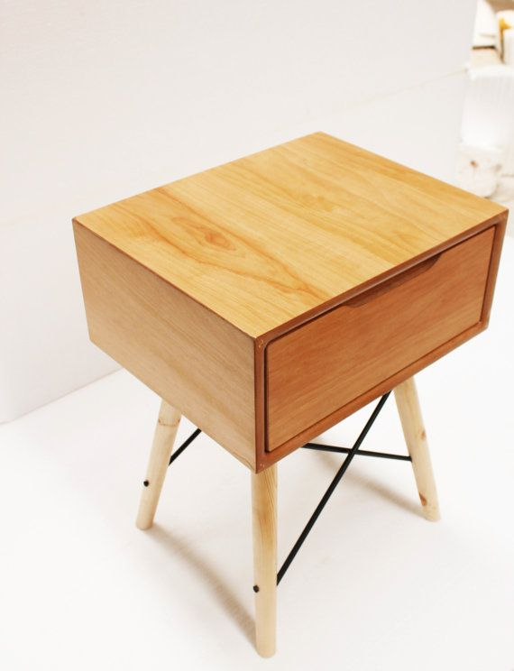 handmade bedside table.retro mid century by craftworksfurniture, €215.00