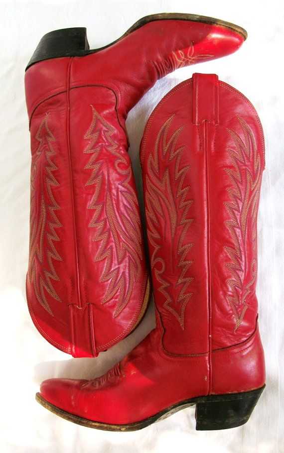 Vintage RED Western Boots  CowGirl Chic  by BohemianStarlet, $69.00