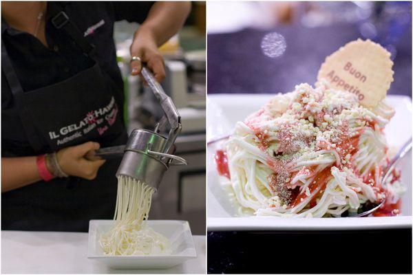 Spaghetti gelato at Il Gelato Hawaii Cafe